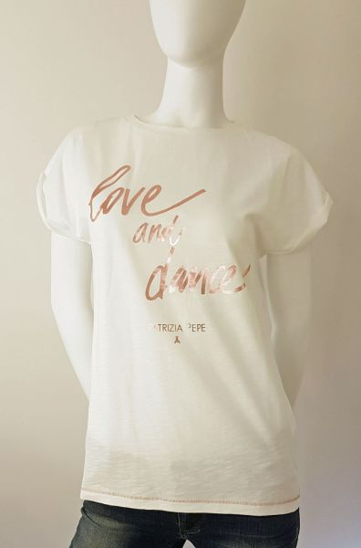 "T-Shirt - Weiß/Altrosé "" Love and Dance"""